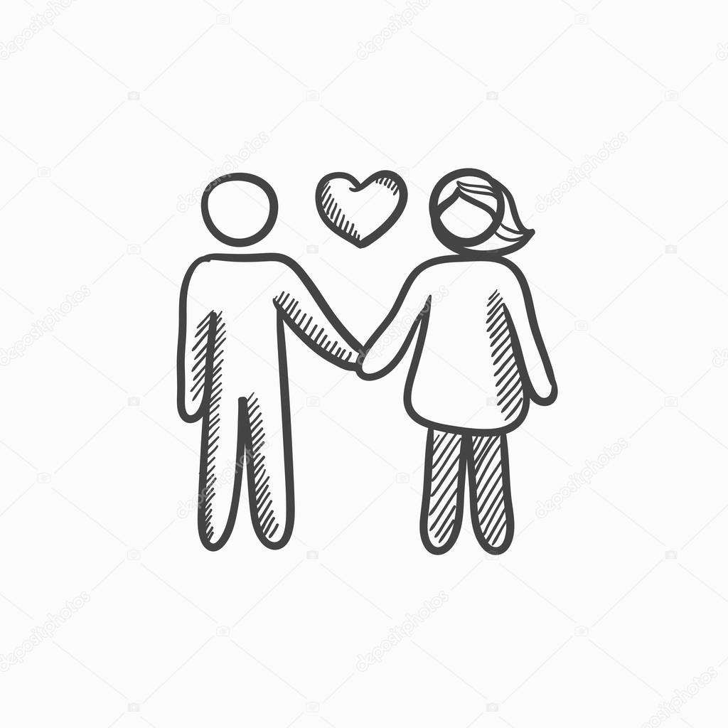 casal apaixonado esboçar ícone vetores de stock rastudio 118945600
