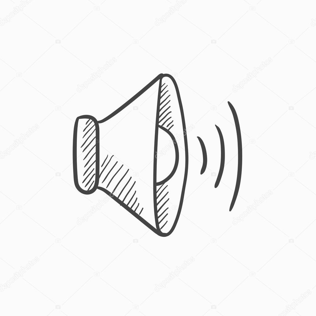 Lautsprecher-Lautstärke-Skizze-Symbol — Stockvektor © rastudio ...