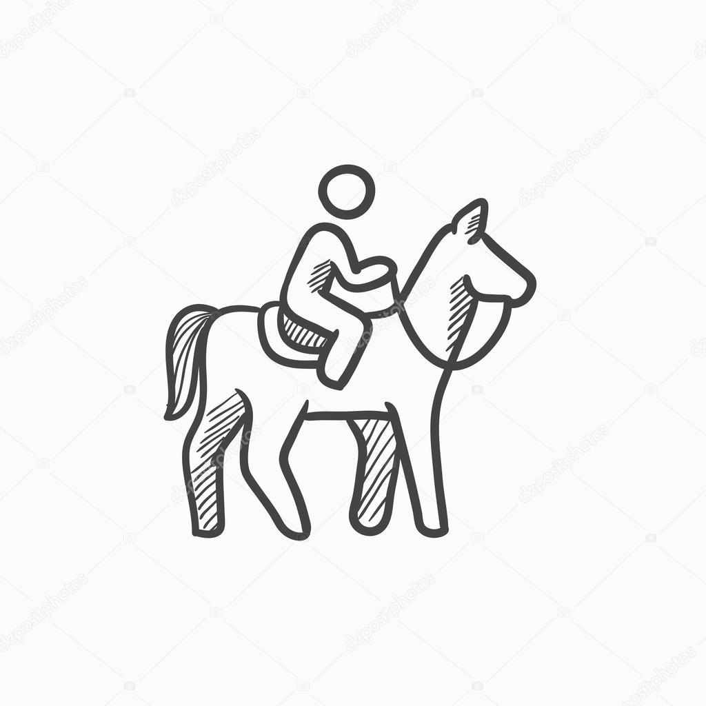Horse Riding Sketch Icon Stock Vector C Visualgeneration 118951152