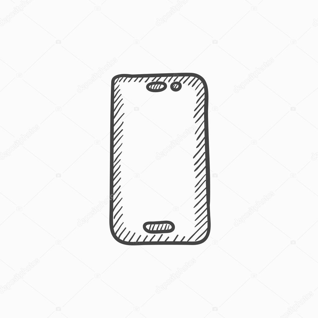 t l phone portable dessin ic ne image vectorielle rastudio 118952504. Black Bedroom Furniture Sets. Home Design Ideas