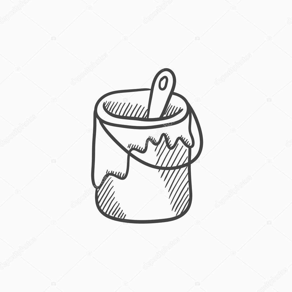 kwast in de verf tin schets pictogram stockvector