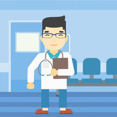 Doctor with file vector illustration.