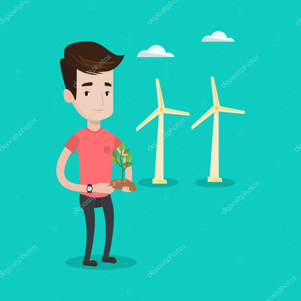 Man holding green small plant vector illustration.