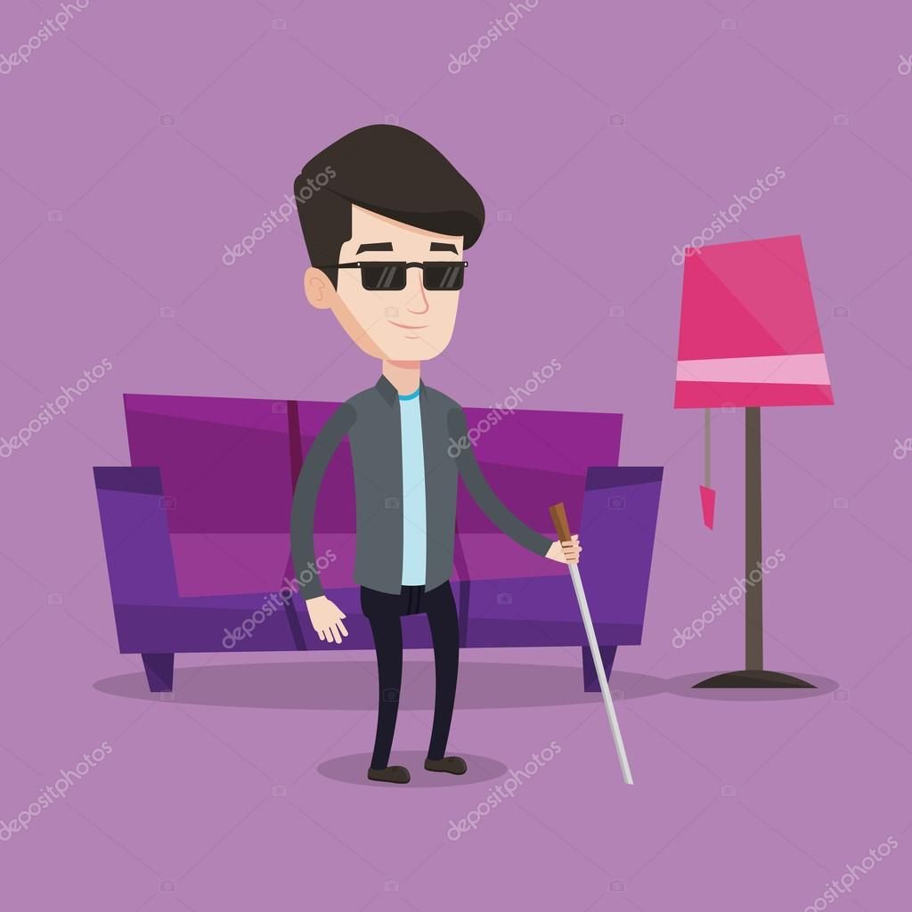 blind man with stick vector illustration stock vector rastudio