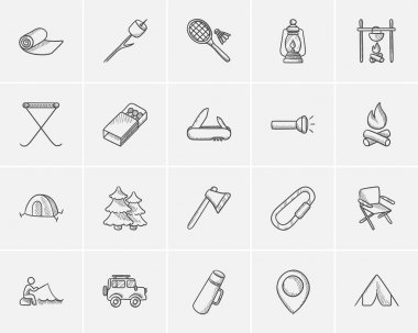 Travel and holiday sketch icon set.