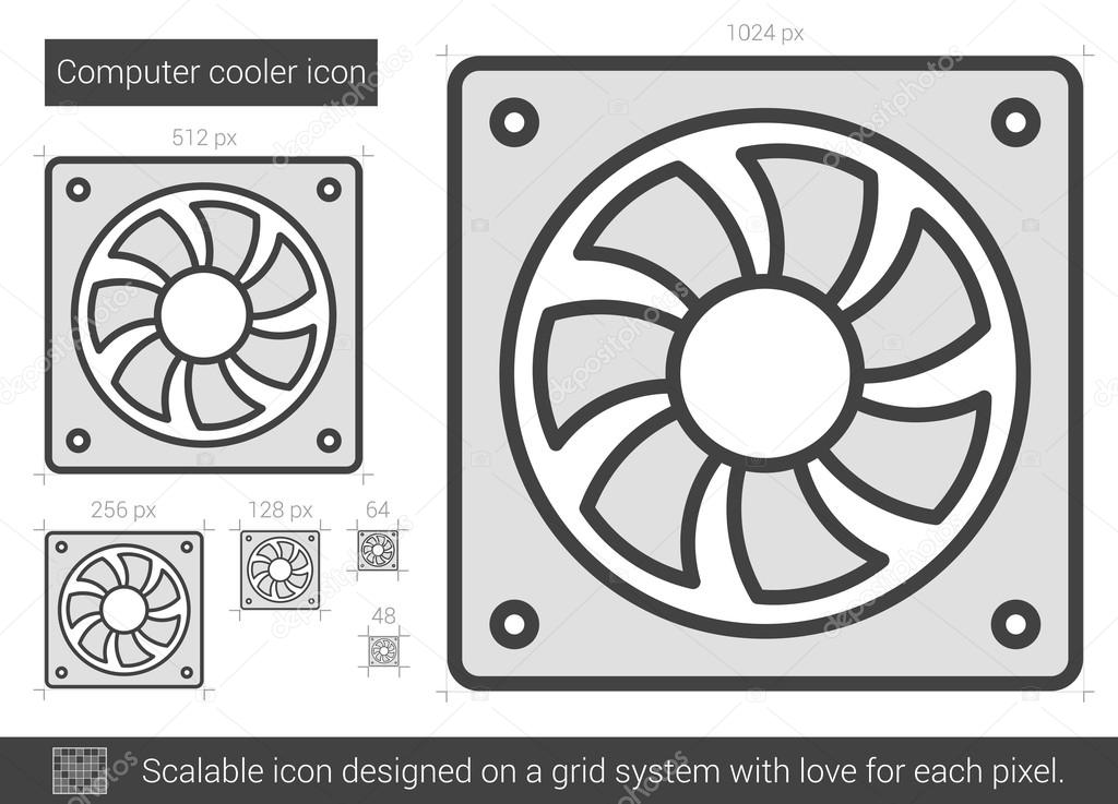 Computer cooler line icon.