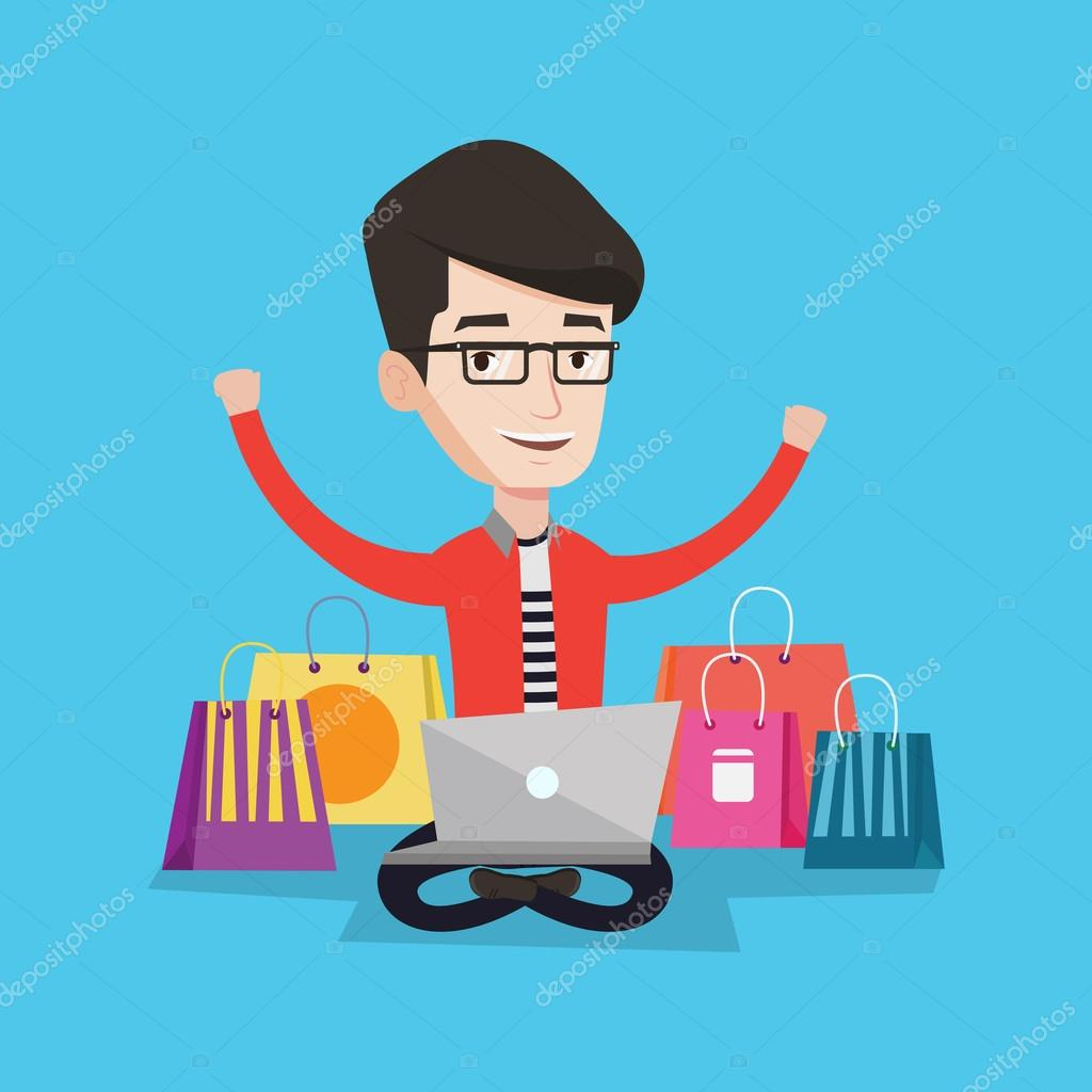 15acc50f71742 Illustration de vecteur en ligne shopping homme — Image vectorielle ...