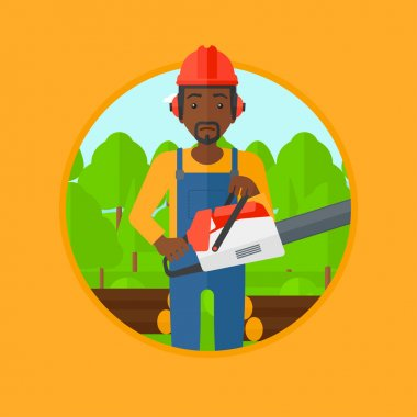 Woodcutter with chainsaw vector illustration.
