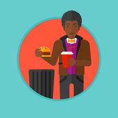 Ember dobott szemét élelmiszer vektoros illusztráció