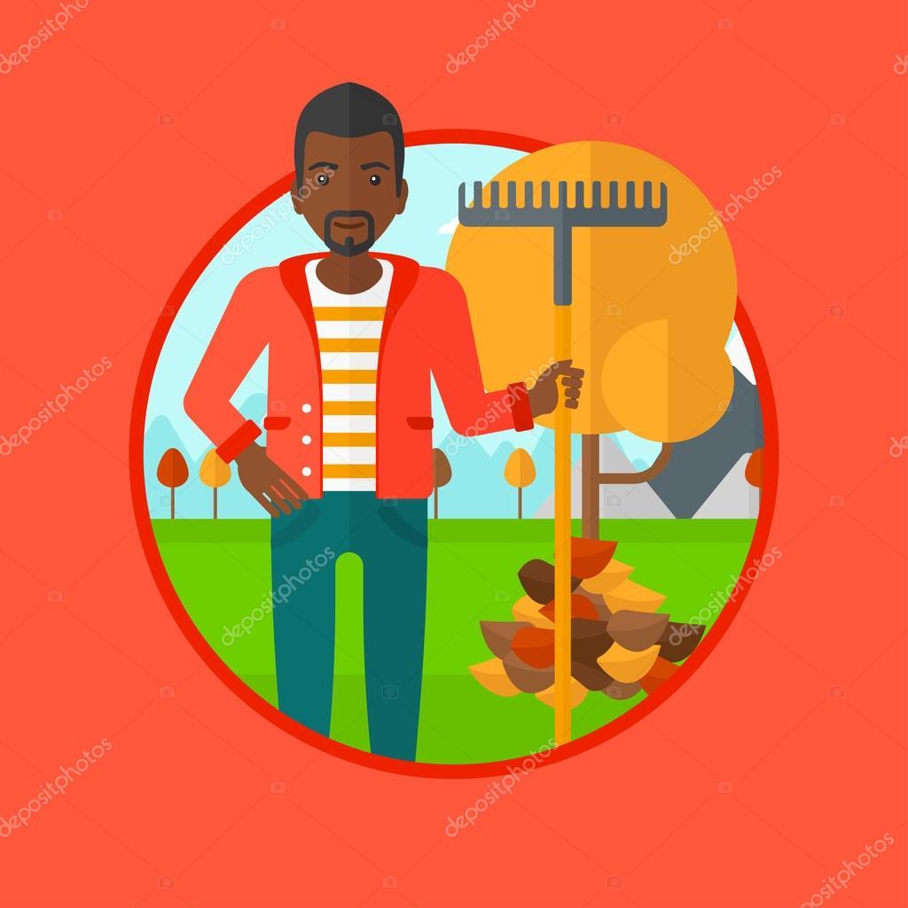 Man raking autumn leaves vector illustration.