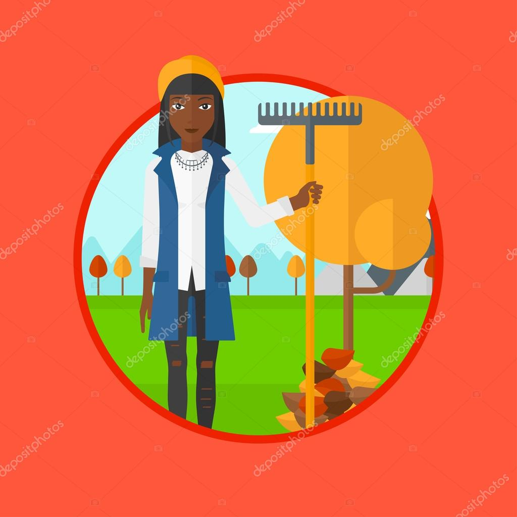 Woman raking autumn leaves vector illustration.