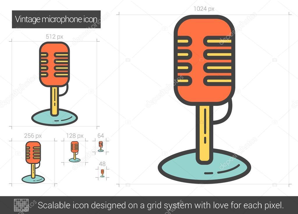 Vintage Linie Mikrofonsymbol — Stockvektor © rastudio #124607846