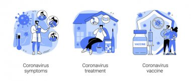 Covid19 pandemic abstract concept vector illustration set. Coronavirus symptoms, treatment and vaccine, intensive therapy, wearing a mask, lung ventilation, fever and cough abstract metaphor. icon