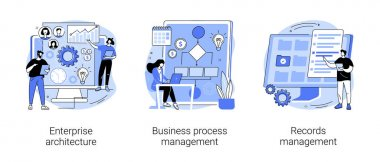 Corporate software abstract concept vector illustration set. Enterprise architecture, business process and records management, IT system solution, document and file tracking abstract metaphor. icon