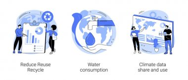 Save the planet abstract concept vector illustration set. Reduce Reuse Recycle, water consumption, climate data share and use, upcycling program, weather forecast, overconsumption abstract metaphor. icon