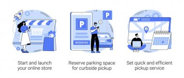 Covid19 business abstract concept vector illustration set. Start and launch your online store, reserve parking space, curbside pickup, set pickup service, employee safety abstract metaphor. icon