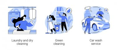 Cleaning services abstract concept vector illustration set. Laundry and dry cleaning, green washing chemical, car wash service, automatic vehicle vacuum, self-serve station abstract metaphor. icon