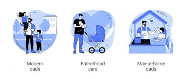 Parenthood abstract concept vector illustration set. Modern dads, fatherhood care, stay-at-home dads, happy kid family, fathers day, breadwinner mom, parental leave, domestic work abstract metaphor. icon
