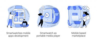 Wearable devices abstract concept vector illustration set. Smartwatches mobile apps development, portable media player, mobile based marketplace, dev team, e-shop app purchase abstract metaphor. icon