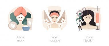 Beauty procedure abstract concept vector illustration set. Facial mask and massage, beauty injection, hyaluronic filler and collagen, woman face lifting, anti age, aesthetic medicine abstract metaphor icon