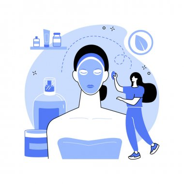 Facial mask abstract concept vector illustration. Skincare procedure, dermatology treatment, cosmetology product, clear face, skin beauty, home spa, cleansing natural cosmetic abstract metaphor. icon