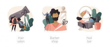 Beauty salon abstract concept vector illustration set. Hair salon, barbershop, nail bar, Haircut service, beard shaving, nail polish, french manicure, hairstylist chair and scissors abstract metaphor. icon