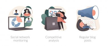 Marketing and PR abstract concept vector illustration set. Social network monitoring, competitive analysis, regular blog posts, brand reputation, startup business consultant abstract metaphor. icon