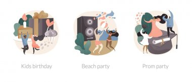 Party celebration abstract concept vector illustration set. Kids birthday, beach and prom party, having fun, open air summer event, graduation school ball dance floor, vacation abstract metaphor. icon