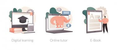 Distance education abstract concept vector illustration set. Digital learning, online tutor, read a book, home school, video call, watch webinar, download e-book, homework abstract metaphor. icon