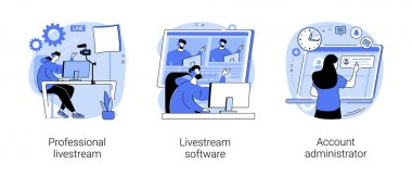 Online live event abstract concept vector illustration set. Professional livestream, software and account administrator, broadcasting service, stream manager, go live in real-time abstract metaphor. icon