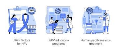Human papillomavirus abstract concept vector illustration set. Risk factors for HPV, health education programs, papillomavirus treatment, infection diagnostics, immune system abstract metaphor. icon