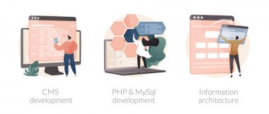 Backend development abstract concept vector illustration set. CMS development, PHP and MySql information architecture, website programmer, coding software, interface web design abstract metaphor. icon