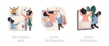 Virtual communication abstract concept vector illustration set. Self-isolation party, online birthday, online friends meeting, video call, quarantine fun, coronavirus outbreak abstract metaphor. icon
