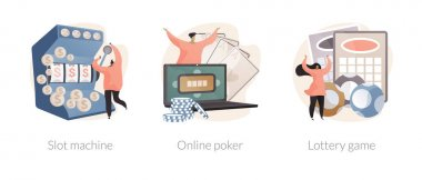 Gambling club abstract concept vector illustration set. Slot machine, online poker, lottery game, online casino, TV show, jackpot win, download application, lucky raffle ticket abstract metaphor. icon