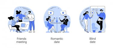 Hangouts abstract concept vector illustration set. Friends meeting, romantic blind date, leisure time, soul mate, romantic relationship, love story, Valentine day, restaurant abstract metaphor. icon