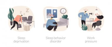 Stress management abstract concept vector illustration set. Sleep deprivation and behavior disorder, work pressure, insomnia, clinical diagnostic, mental health, chronic anxiety abstract metaphor. icon