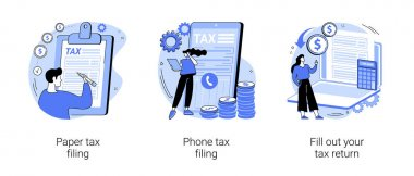 Tax return deadline abstract concept vector illustration set. Paper or phone tax filing, fill out your tax return, financial report, money refund, business profit, budget planning abstract metaphor. icon