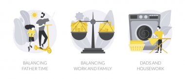 Happy family abstract concept vector illustration set. Balancing father time, work and family balance, dads and housework, time together, chores at home, time management abstract metaphor. icon