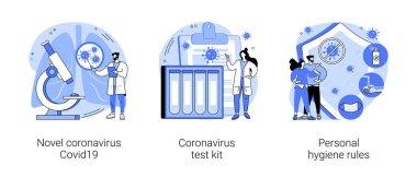 Coronavirus disease outbreak abstract concept vector illustration set. Novel coronavirus covid19 test kit, personal hygiene rules, covid diagnosis, wash hands, wear a mask abstract metaphor. icon