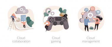 Cloud service abstract concept vector illustration set. Cloud collaboration, online gaming platform, system management, data storage, video and file streaming, remote business abstract metaphor. icon