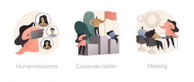 Headhunter service abstract concept vector illustration set. Human resources, corporate ladder, meeting room, job listing website, employment hierarchy, career ladder, contract abstract metaphor. icon