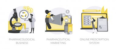 Pharmacy industry abstract concept vector illustration set. Pharmacological business, pharmaceutical marketing, online prescription system, medical equipment, e-prescribing abstract metaphor. icon