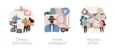 Legal service and investigation abstract concept vector illustration set. Divorce lawyer, private investigation, property division, family lawyer, detective agency, separation abstract metaphor. icon
