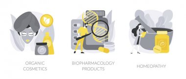 Beauty industry abstract concept vector illustration set. Organic cosmetics, biopharmacology products, homeopathy, skin treatment, natural pharmacy, nutrition supplement, holistic abstract metaphor. icon