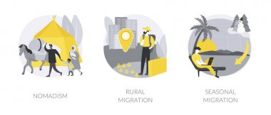 Changing habitation abstract concept vector illustration set. Nomadism, rural migration, seasonal movement, population growth and urbanization, hunters and gatherers, moving to city abstract metaphor. icon