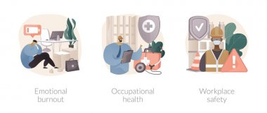 Employee health abstract concept vector illustration set. Emotional burnout, occupational health, workplace safety, overload, injury prevention, labor condition, working environment abstract metaphor. icon