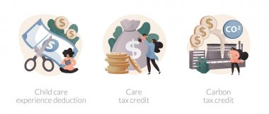 Family support abstract concept vector illustration set. Child care expense deduction, care and carbon tax credits, taxable income, family budget, bank transfer, paycheck abstract metaphor. icon