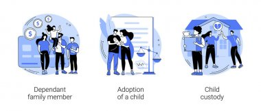 Family law abstract concept vector illustration set. Dependant family member, adoption of a child, custody and alimony, parents divorce, same sex couple, elderly support, caregiver abstract metaphor. icon
