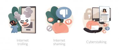 Social media aggressive behavior abstract concept vector illustration set. Internet trolling, digital shaming, cyberstalking, internet harassment, mental abuse, cyber crime abstract metaphor. icon