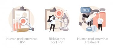 HPV infection abstract concept vector illustration set. Human papillomavirus, risk factor for HPV and medication treatment, cervical cancer early diagnostics, immune system response abstract metaphor. icon